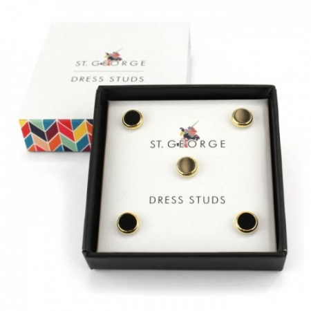 Set of 5 Gilt Surround Black Dress Shirt Studs
